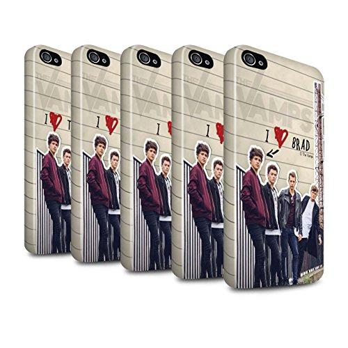 Officiel The Vamps Coque / Brillant Robuste Antichoc Etui pour Apple iPhone 4/4S / Pack 5pcs Design / The Vamps Journal Secret Collection Pack 5pcs