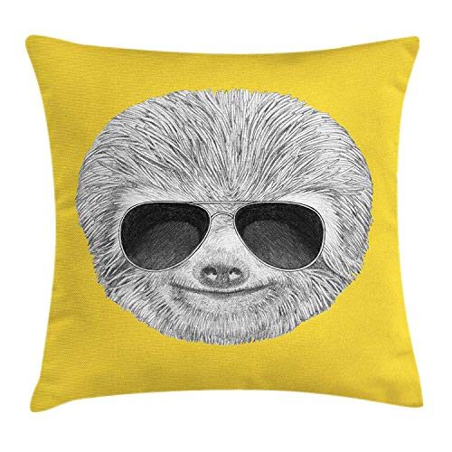 ZTLKFL Sloth Throw Pillow Cushion Cover, Hipster Jungle Animal with Sunglasses Smiling Funny Expression Cool Character Print, Decorative Square Accent Pillow Case, 18 X 18 Inches, Yelow Grey