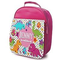 KRAFTYGIFTS Personalised School Lunch Bag - CUTE DINOSAURS - Girls Pink Insulated ADD NAME KS116
