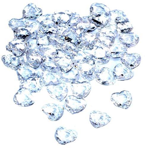 SiDeSo® Dekosteine Herzdiamanten Herzen 100 Stück viele Farben Acryl Tischdeko Streudeko Hochzeit (klar)