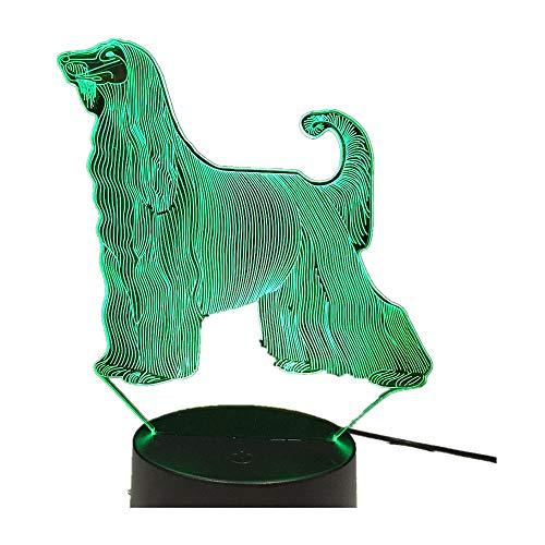 3D Schlange LED USB Lampe Terror Thema Party Dekoration Schädel Kopf Unfug Afghanischen Hound 7 Farben Ändern Touch Nachtlicht Kinder Geschenke Indoor Deco Hound Eine Größe