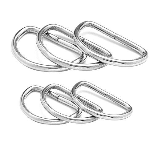 50 Stück Metall D Ring Schnallen BlueXP 32mm38mm Breite für Tasche oder Geldbörse Griffe Gurtband Teller Silber