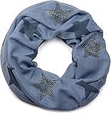 styleBREAKER Loop Schlauchschal mit Sterne Muster und edler Strass Applikation, Damen 01018086, Farbe:Blau-Dunkelblau
