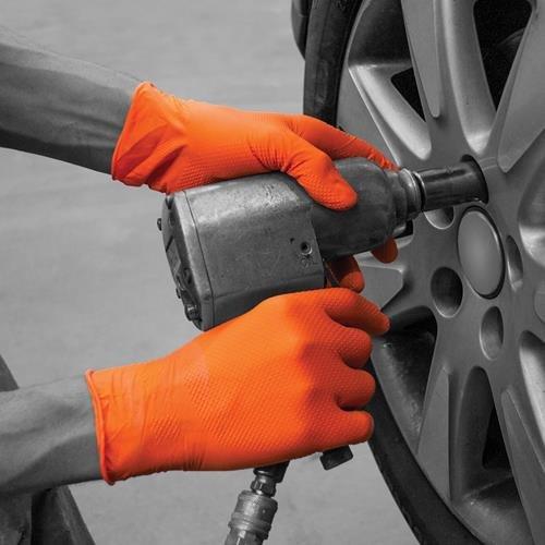 Bodyguards GL2005 Endliche, Orange HD Nitril Einweg Handschuhe – Box x 90