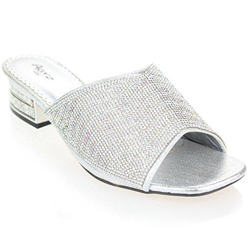 Aarz delle signore delle donne Sera Comfort tacco basso Slip-On sandalo Diamante partito scarpe da sposa Dimensioni (Oro, Argento)