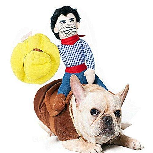 und Katz Cowboy Rider Kostüm, Ritter-Puppe mit Kleid und Hut, lustige Haustier Kleidung für Halloween Partys Thanksgiving Day Weihnachten Verkleiden Sich (L) ()