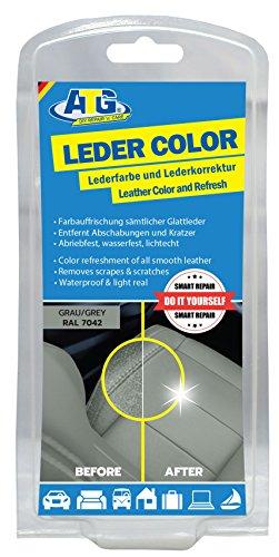 Preisvergleich Produktbild ATG ATG020 Leder-Color Lederfarbe inkl. Schwamm - beseitigt Kratzer,  Abschürfungen und Abnutzungen auf Leder und Kunstleder bei jedem Autositz & jede Sitzbank – Farbe Grau