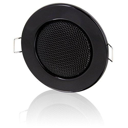 Einbau Lautsprecher Vollmetall 3W Ø 80mm - Einbau Ø 60mm - Klemm Montage - Niederohm Technik - für Wand und Decke - Halogen-Design - schwarz