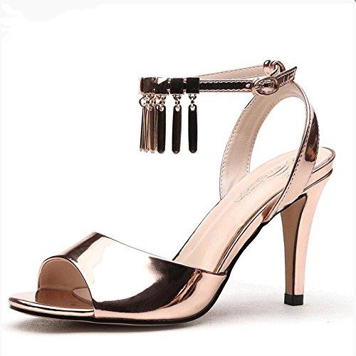 Lgk & Fait D'été Talons Hauts Sandales Sandales De Femmes Mot Boucle D'été Bouche Poisson Talons Hauts Mince Et Simple Femmes Chaussures, 38 Or 37 Or