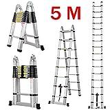 Finether 5M Teleskopleiter Klappleiter ausziehbare Leiter Aluleiter Mehrzweckleiter Ausziehleiter Stehleiter Anlegeleiter aus hochwertigem Alu Teleskop-Design 150 kg Belastbarkeit