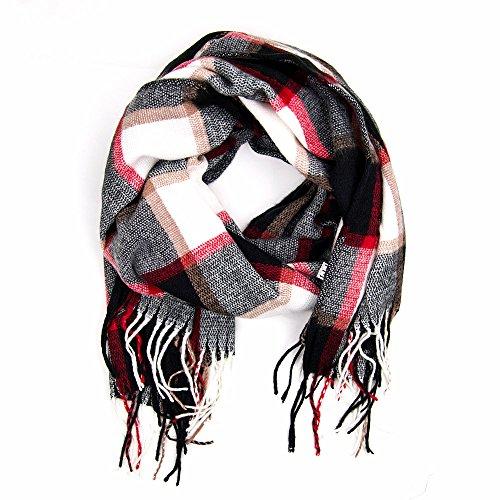 MANUMAR Schal unisex | feines Hals-Tuch in schwarz weiß rot für Damen und Herren mit Karo-Motiv als perfektes Herbst/Winter Accessoire | XXL Schal Übergröße | Geschenkidee | Mode-Schal |