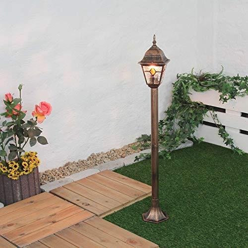 Glas-antike Stehlampe (Außen Stehlampe Kupfer Antik Glas Tiffany Stil 1,03m hoch E27 rustikal Wegleuchte Garten Hof Terrasse)