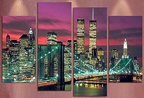 Obella NEUF Top des Impressions sur toile 4pièces issu de la gamme Manhattan pont de Brooklyn issu de la gamme moderne contemporain Posters: peintures à l'huile Impressions et photos d'image Photo murale Art Impressions sur toile Peinture pour maison Chambre à coucher Salon Décoration murale Décoration de cadeaux de Noël–sans cadre