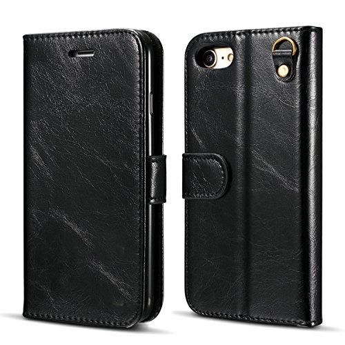 Handyhülle für Apple iPhone 7 4.7 Zoll aufklappbare Hülle Book Style Hardcase Cover in Leder-Optik verschließbare Handy Schutzhülle Schwarz