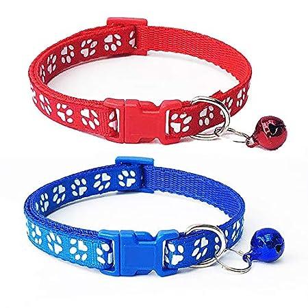 Fliyeong Katzenhalsband mit Bell-Sicherheitsschnellverschluss Break Away Schnalle verstellbares Halsband 2Pcs rot und blau