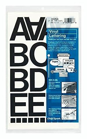 Chartpak CHA01050 chiffres-lettres-2po vinyle - noir.