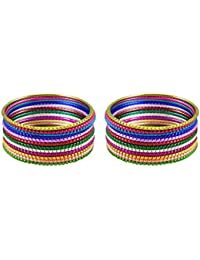 DollsofIndia 2 Sets Of Multicolor Metal Bangles - Size - 2-7 - Dia - 2.42 Inches (RF17) - Multicolor