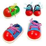 Motorikspielzeug Schuhe Binden Spielzeug Holz Fädelspiel Fädelschuh Kinder Lernspiele 1 Stück Zufällige Farbe