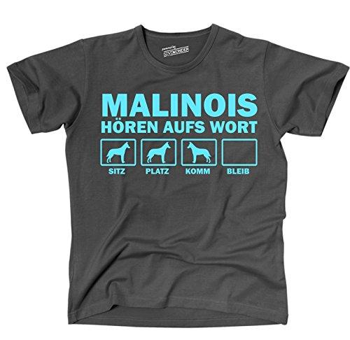 MALINOIS belgischer Schäferhund BELGIAN Schutzhund Polizei - HÖREN AUFS WORT Unisex T-Shirt Shirt Siviwonder Hunde Hund dark grey XL -