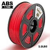Filamento impresora 3D Enotepad ABS, filamento ABS 1.75 mm 1 kg, precisión dimensional 1.75 ± 0.02 mm, impresoras 3D ABS rojo