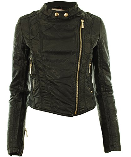 Diana Frauen Faux Leder Biker Gold Button Reißverschluss Zuschneiden Länge Damen Jacke - 3
