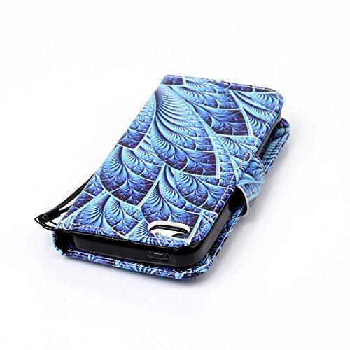 Für iPhone 5C Gurt Strap Magnetverschluß Ledertasche Hülle,Für iPhone 5C Premium Seil Leder Wallet Tasche Brieftasche Schutzhülle,Funyye Stilvoll Jahrgang [Bunt Muster] Schutzhülle Wallet Case Design  Pfau Blume