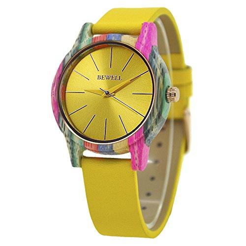 Damen-Holz-Uhr, Quarz Bewegung bunte Holz handgemachte Mode Uhren abnehmbar Armband Armbanduhr (Gelb) -