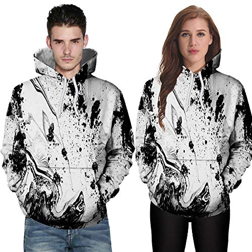 UJUNAOR Halloween Schädel Hoodie Männer Damen Langarm Kürbis 3D Drucken Frühling Winter Frauen Kapuzenpullover Party Hoodie Top Sweatshirt Weiß(Weiß,CN 2XL)