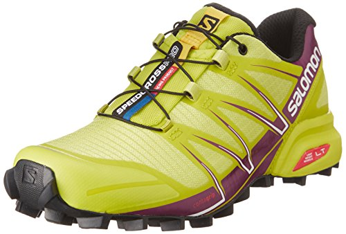 Salomon Speedcross Pro, Chaussures de Running Compétition Femme Multicolore (Gecko Green/Mystic Purple/White)