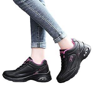 TianWlio Sneaker Damen Freizeit Leder Outdoorschuhe Atmungsaktiver Schnürschuh Rutschfeste Sportschuh Flache Leichte Sneakers Black White Pink 35-40