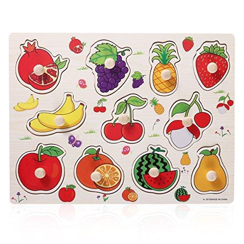 TOYMYTOY Holz Steckpuzzle Obst Früchte Pädagogisches Puzzle Spielzeug für Baby Kleinkinder