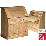 3ft Solid Pine Bureau, Handcrafted & Waxed Writing Desk. Choice of colours, No flat packs, No assembly (TWBD3)