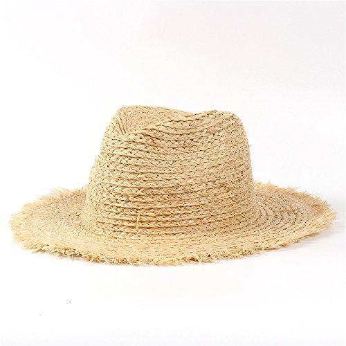 Guter Hut Stroh-Sommer-Frauen-Strand-Sonnenhut 100% Raffiabast mit Quaste-floppy breiter Krempe Panama Sunbonnet für elegante Dame (Color : 1, Size : 56-58CM)