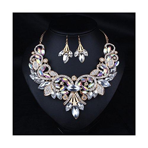 Hamer weiß und schwarz Anhänger Kristall Charms Statement Choker Halskette und Ohrringe Sets für Frauen Fashion Bohemian Kostüm Schmuck - (Referenz Vintage Kostüm Schmuck)