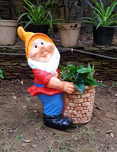 Wonderland 14 Inches Gnome / Dwarf Planter / Pot Right (Garden Decor, Gifting , Balcony)