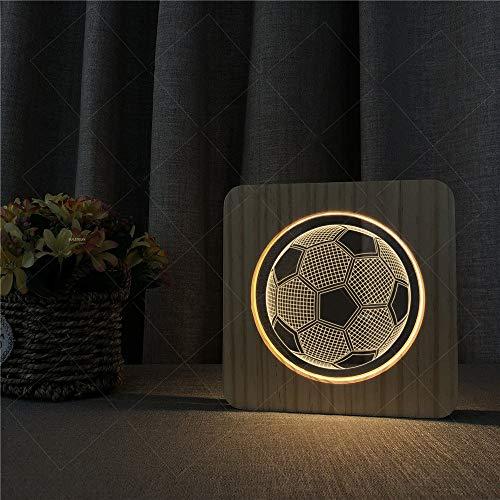 Acryl-leg Warmers (3D Illusionslampe USB Powered 3D Holz Acryl Illusion LED Nachtlampe Warme Lichter Fußball Muster Schreibtischlampe Geschenk Für Kinder Kinder Erwachsene Schlafzimmer Wohnzimmer Dekoration für Baby Sch)