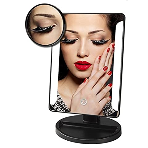 Lighted Makeup Mirrors, Laniakea® Professional Desktop Touch Screen 180 Degree Free Rotation Vanity Table Mirrors with Intelligent Adjustable 36 LED Lights (Free Matched with a 10x Magnifying Spot