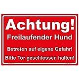 "Schild ""Achtung! Freilaufender Hund "" Hinweisschild 300x200 mm rot, stabile Aluminiumverbundplatte 3mm stark"