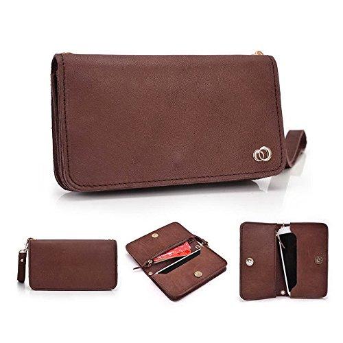 Kroo Pochette Cou en cuir fait avec dragonne pour Smartphone 12,7cm Housse de transport Compatible avec Lenovo A526 noir - noir Marron - marron