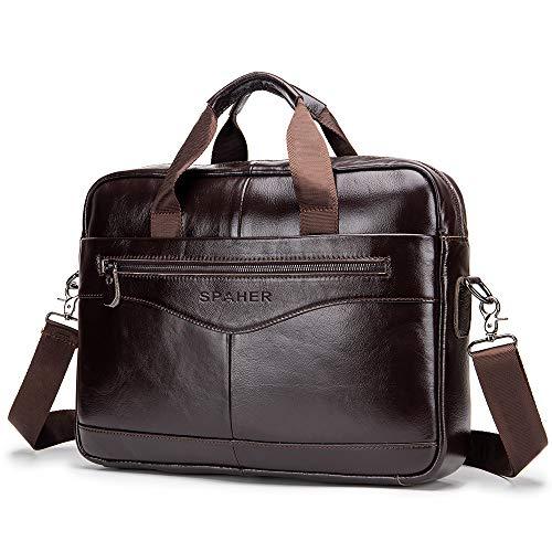 SPAHER Laptop Tasche Leder Herren Aktentasche Dokumententasche Wasserabweisende Computer Tasche Business Bürotasche Umhängetasche Handtasche Messenger Satchel für Männer Frauen Braun -
