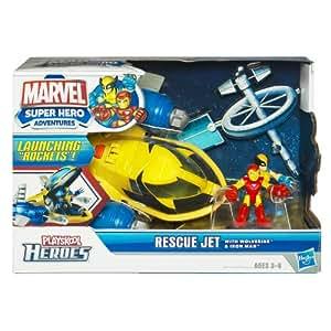 Playskool Heroes – 32971 – Marvel Super Hero Adventures – Avion de Sauvetage – Wolverine + Iron Man