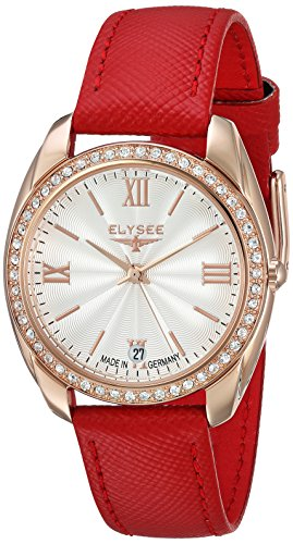 ELYSEE Women's Diana 32mm Red Leather Band Rose Gold Plated Case Quartz Silver-Tone Dial Watch 28602