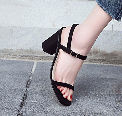 Sandali per le donne Punta di punta a punta quadrata Capelli casuali di stile coreano aperto per le donne Black