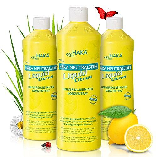 HAKA Neutralseife Flüssig Citrus I 3x1 Liter Neutralreiniger I Universalreiniger für Haushalt und Auto I PH-neutrales Reinigungsmittel I Biologisch abbaubar