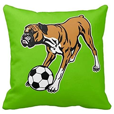 Boxer Dog With Soccer Ball Pillow Case