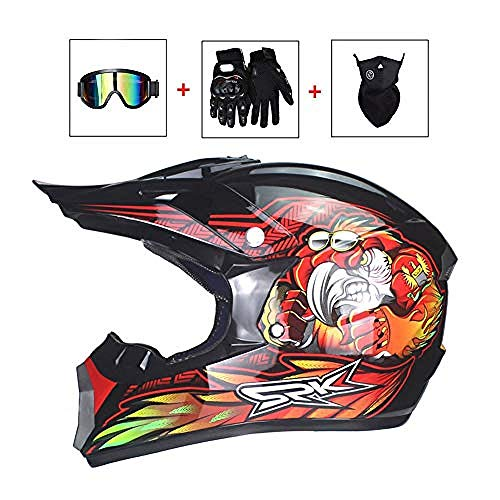 Casco da cross per uomo adulto Casco cross da uomo con maschera / maschera / guanti Casco da moto Monster rosso Sport ATV MTB Quad Motociclette Off-Road Racing Downhill Enduro Cross Helmet for Men L