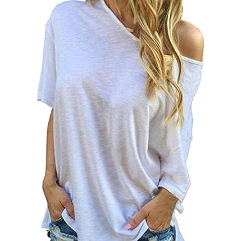 camisa de las mujeres, FEITONG Las mujeres de verano de manga corta blusa de las tapas ocasionales de la camiseta