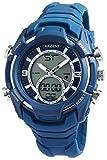 Herrenuhr Analog Digital Armbanduhr Blau + Box Quarz Silikon Chronograph Sport Alarm Licht Stoppuhr Datum AnaDigi