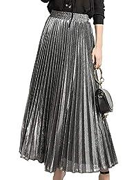 Falda Plisada Metalizada Falda De Playa De Cintura Alta para Mujer Falda  Larga Girl Lustre Satin 4121366ca1db
