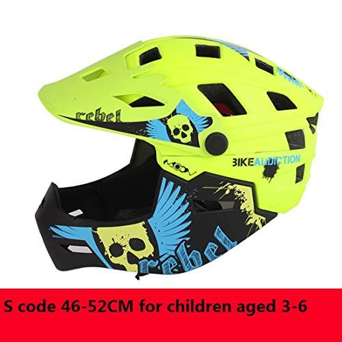 3M Kinderfahrradhelm Motorrad Full Face Helm Kinderschutz Ausrüstung Sport Schutzgeräte Fahren Skating,Green,S
